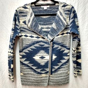 Cotton County Aztec zippered cardigan sweater